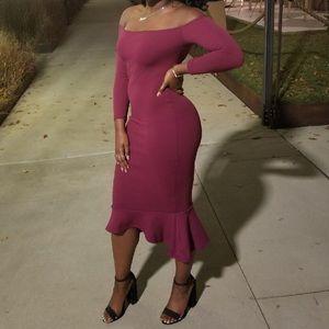 1163055bb302 Missguided Dresses - Plum Bardot Dress with Fishtail Hem